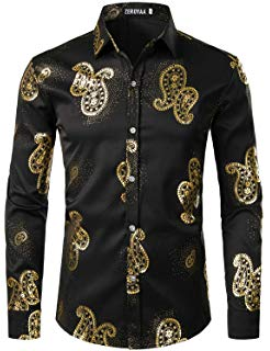 ZEROYAA Men's Nightclub Rose Gold Shiny Flowered Printed Slim Fit Button Down Dress Shirts For Party