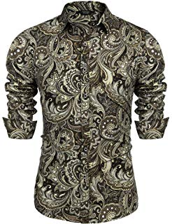 SSLR Men's Paisley Cotton Printed Long Sleeve Casual Button-Down Shirt Is The Best In Dating Clothes For Ma